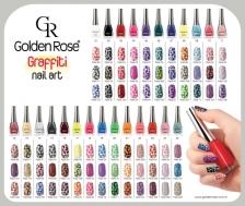 Golden Rose Graffiti Nail Art